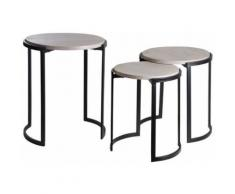 Sellettes rondes en métal et manguier (lot de 3) - Tables d'appoint