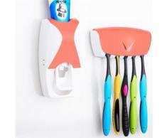 Distributeur Dentifrice automatique Mural Pressoir Porte 5 Brosses A Dents Orange - Accessoires de bain