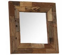 Miroir Bois Massif de Traverses pour Entrée ou Salle de Bain 50 x 50 cm - Objet à poser