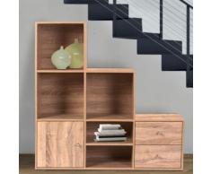 Meuble de rangement escalier 3 niveaux bois façon hêtre avec porte et tiroirs - Étagère