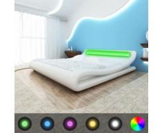 Meelady Lit Double en Cuir Artificiel avec Bande de LED Style Moderne Blanc 140 x 200 cm - Cadre de lit
