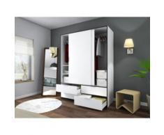 CAPRI Armoire de chambre style contemporain blanc et noir mat - L 140 cm - Objet à poser