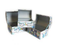 Les Trésors De Lily [M3195] - Set de 3 malles dome 'Les Robots' bleu gris - Objet à poser
