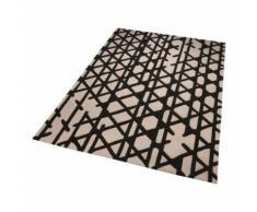 Tapis moderne Esprit Artisan Pop motif géométrique Noir et Blanc 200x200 - Tapis et paillasson