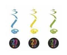 Lot de 4 suspensions spirale 20 ans - 60 cm - Objet à poser