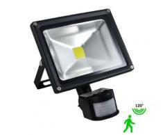 Projecteur led 20 watt (eq. 200 watt) avec détecteur - Couleur eclairage - Blanc neutre - Ampoules à LEDs