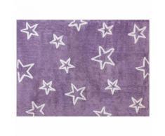 Tapis enfant coton grandes étoiles Lilipouce Mauve 120x160 cm - Tapis et paillasson