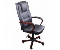vidaXL Fauteuil de bureau en cuir mélangé et bois - Sièges et fauteuils de bureau