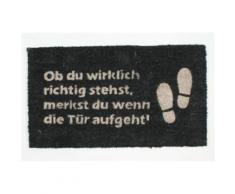 Humour Paillasson Essuie-Pieds - Ob Du Wirklich Richtig Stehst, Merkst Du Wenn Die Tür Aufgeht, Retro (40x70 cm) - Tapis et paillasson