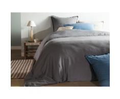 Taie d'oreiller unie lin et coton lavé volant 2 cm HORTENSE 50x70cm gris - Linge de lit