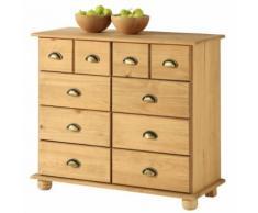 Commode COLMAR chiffonnier apothicaire rangement avec 8 tiroirs en pin massif finition teintée/cirée - Commodes