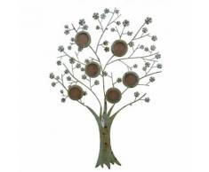 L'Héritier Du Temps - Applique arbre de vie cadre mural à poser porte photographies à suspendre motifs floraux en fer patiné vert 1x86x123cm - Objet à poser