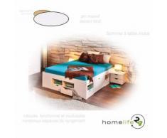 Lit double multi-fonction adulte 2 places 140 x 190 multi-rangement blanc pin massif - Cadre de lit