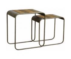 Sellettes en bois et métal (lot de 2) - Tables d'appoint