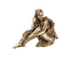 Statuette décorative en résine aspect bronze - Femme assise avec feuilles - Objet à poser