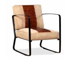 Fauteuil de Salon en Cuir Véritable et Toile Marron Style Industriel - Chaise
