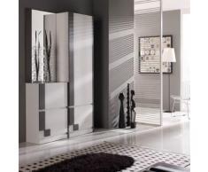 Meuble d'entrée Blanc/Cendre + armoire + miroir - SLIMAN n°1 - Commodes