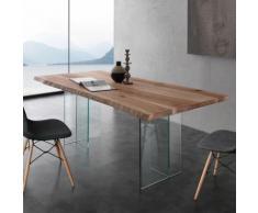 Table à manger en bois massif et verre ILONA 2 - 200 cm - Tables salle à manger