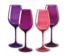 Verre à vin en verre rose - Lot de 4 - Modèle KADOR - Verrerie