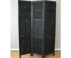 Paravent 3 pans en bambou noir et bois marron cloison de séparation PAR06051 - Objet à poser