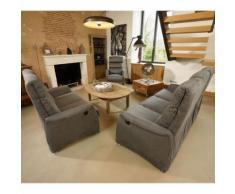 Salon complet Relaxation électrique Gris - SOFTY - L 190 x l 90 x H 107 - Tables salle à manger