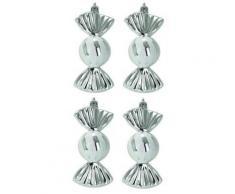 Codico set de 4 suspensions de noël bonbons hauteur 11 cm argentée 5sus547ag - Objet à poser