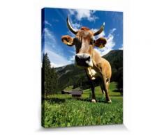 Vaches Poster Reproduction Sur Toile, Tendue Sur Châssis - Vache Sur Pâturage En Montagne (40x30 cm) - Décoration murale