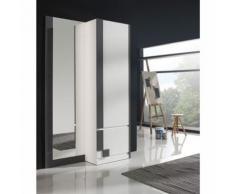 Meuble d'entrée Blanc/Cendre + armoire + miroir - SLIMAN n°3 - Commodes