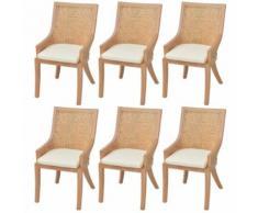 Meelady Ensemble de 6 Chaises de Salle à Manger de Jardin en Rotin 64 x 53 x 103 cm - Chaise