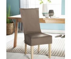Housse de chaise unie courte 100% coton bachette épaisse taupe ISA - Textile séjour