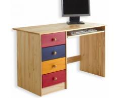 Bureau enfant 4 tiroirs lasuré multicolore - Bureaux