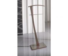 Valet de Nuit Moka en Bois/Metal sur socle rectangulaire, 28 x 48 x 115 cm -PEGANE- - Objet à poser