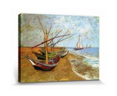 Vincent Van Gogh Poster Reproduction Sur Toile, Tendue Sur Châssis - Barques Sur La Plage Aux Saintes-Maries, 1888 (40x30 cm) - Décoration murale