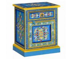 Meelady Armoire de Rangementde en Bois de Turquoise Peinture à la Main pour Chambre 40 x 30 x 50 cm - Tables de chevet