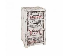 Chiffonnier 4 tiroirs en bois et métal avec imprimé texte H77cm WHITSTABLE - Happy - Commodes