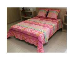 Couvre-lit Boutis matelassé 220x240 cm ANA avec 2 taies d'oreiller - Linge de lit