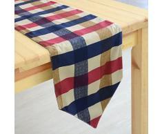 Chemin de table classique à motif carreaux en coton - linge de table et décoration