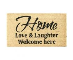 Chez-Soi Paillasson Essuie-Pieds - Love & Laughter, Welcome Here (40x70 cm) - Tapis et paillasson