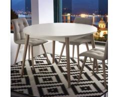 Table scandinave extensible blanche et bois clair CIRILO - L 370 x P 120 x H 75 cm - Tables salle à manger