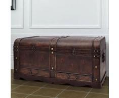 Meelady Coffre à trésors en bois, boîte de rangement de style ancien à l'ancienne, 90 x 51 x 42 cm - Tables de chevet