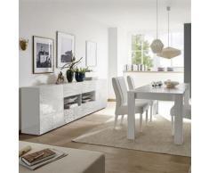 Salle à manger design buffet 241 cm blanc laqué ELMA - L 180 x P 90 x H 79 cm - Tables salle à manger