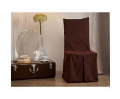 Housse de chaise bachette 100% coton chocolat INES - Textile séjour