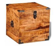 Meelady Coffre Carré en Bois Brut de Manguier - Tables de chevet