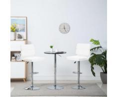 Meelady Tabouret de Bar Hauteur Réglable lot de 2 pcs en Métal chaise de bar de Cuisine Stools Moderne blanc 44 x 50 x (93-114) cm - Chaise