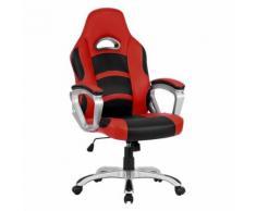 Fauteuil de Bureau Langria Racing pour Gamer en Faux Cuir(Rouge/Noir) - Sièges et fauteuils de bureau