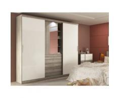 Armoire BODIL - portes coulissantes - Miroir et tiroirs - L240cm - Chêne et ivoire - Armoire