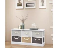 Meelady Banc de rangement Bois 6 tiroirs 95 x 28 x 47 cm - Tables de chevet