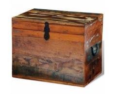 Meelady Coffre de stockage en bois recyclé solide - Tables de chevet