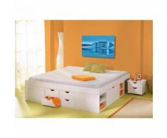 Lit double 140x200 rangements tiroirs sommiers chevets moderne bois massif BLANC - Cadre de lit