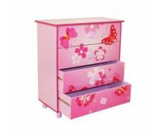 Commode 4 tiroirs chambre enfant motif papillon rose 60x67x30cm APE06020 - Objet à poser